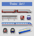Train icon set Subway monorail funicular transport vector image