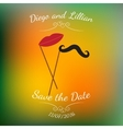 mustache and lips on stick over colorful vector image