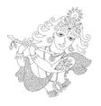 Black and white god lord Krishna for Janmashtami vector image