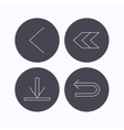 Arrows icons Download back linear signs vector image