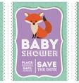 fox animal baby shower card icon vector image