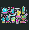set fashion patches brooches with cacti vector image