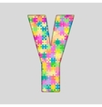 Color Piece Puzzle Jigsaw Letter - Y vector image
