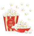 pop corn in a red bowl with pop corn in a red vector image