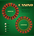 american and european casino roulette motion vector image