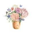 Floral Greeting Card with Blooming Hydrangea and vector image