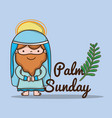 jesus with palm branch to catholic religion vector image