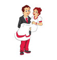 man carrying wife vector image