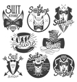 set of monochrome suit shop labels logos vector image