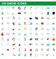 100 snow icons set cartoon style vector image