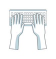 Hands with keyboard working digital design vector image
