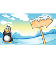 A penguin beside the empty arrowboard vector image