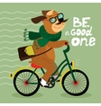 Hipster poster with nerd dog vector image