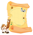 A treasure map beside a smiling horse vector image vector image