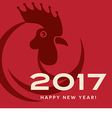 2017 year of the rooster happy new year card vector image