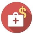 Medical Fund Flat Round Icon with Long Shadow vector image