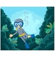 Cartoon boy diving in the sea vector image