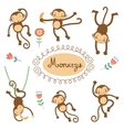 Cute funny monkeys collection vector image