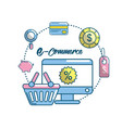 marketing plan strategy with shopping online vector image