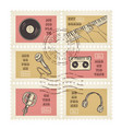 postage stamps retro music equipment theme vector image