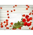 Table with rose petals EPS 10 vector image