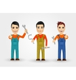 three young plumbers dressed in work clothes vector image