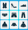 garment icons set collection of waistcoat beanie vector image