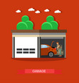 home garage in flat style vector image