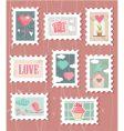 valentine stamps vector image vector image