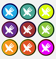 Eat Cutlery icon sign Nine multi-colored round vector image