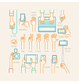 Hands set - line style vector image vector image