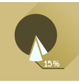 Flat icon with long shadow percent chart vector image