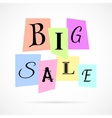 Big Sale Poster from Color Paper over white vector image