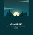 glamping glamor camping campfire pine forest vector image