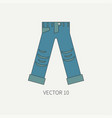 line flat color icon wear - ripped jeans vector image