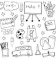 School doodles set hand draw vector image
