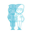 silhouette doctor and nurse to help people vector image