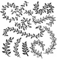 vignettes and floral border Monochrome vintage set vector image