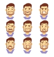 Bearded hipster man character emotions male heads vector image vector image