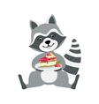 Cute Raccoon Character Sitting With Plate Piece vector image