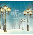 Christmas evening landscape with vintage lampposts vector image