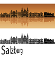 Salzburg skyline in orange vector image