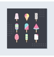 Ice-cream and Popsicle on Sticks Card vector image