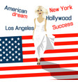 fashion woman goes down stairs in form of usa flag vector image