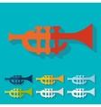 Flat design trumpet vector image