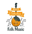 Folk music symbol with ethnic musical instrument vector image