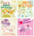 Happy birthday background - floral set vector image