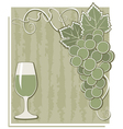 Poster with grape and glass vector image