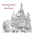 saint basils cathedral in moscow hand drawing vector image