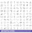 100 raffle icons set outline style vector image